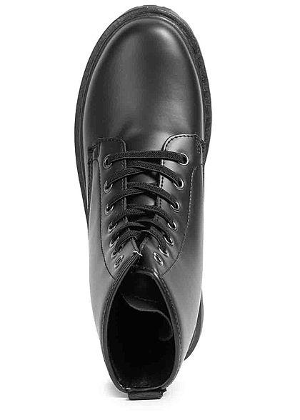 Seventyseven Lifestyle Damen Schuh Kunstleder Worker Boots Schnürhalbstiefel schwarz