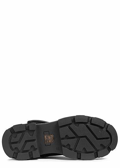 Seventyseven Lifestyle Damen Schuh Worker Boots Halbstiefel inkl. Geldtasche schwarz