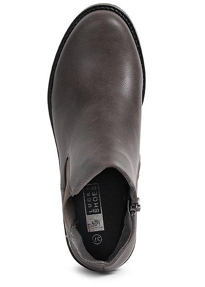 Seventyseven Lifestyle Damen Schuh Kunstleder Halbstiefel Zipper dunkel grau