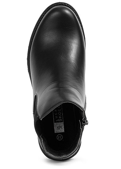 Seventyseven Lifestyle Damen Schuh Kunstleder Halbstiefel Zipper Absatz 4,5cm schwarz