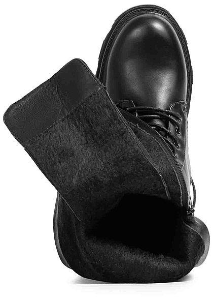 Seventyseven Lifestyle Damen Schuh Kunstleder Schnürstiefel Zipper seitlich schwarz