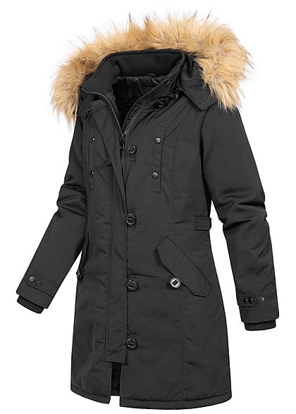 Seventyseven Lifestyle Damen Steppmantel Jacke abnehmbare Kapuze 4-Pockets schwarz
