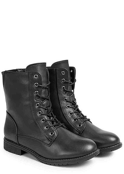 Seventyseven Lifestyle Damen Schuh Kunstleder Worker Boots Deko Zipper hinten schwarz