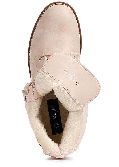 Seventyseven Lifestyle Damen Schuh Kunstleder Worker Boots Deko Zipper hinten beige