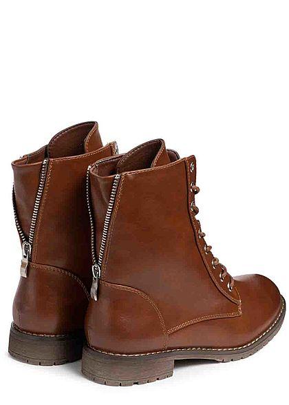 Seventyseven Lifestyle Damen Schuh Kunstleder Worker Boots Deko Zipper hinten camel braun