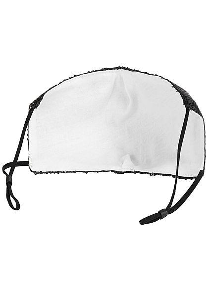 Hailys Fashion Maske One Size Mund-Nasen Behelfsmaske Paillettenfront schwarz