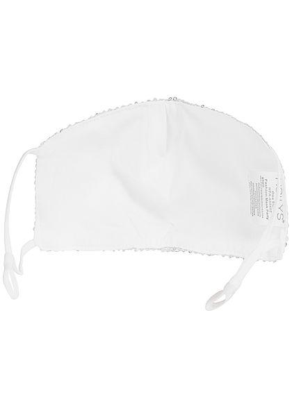 Hailys Fashion Maske One Size Mund-Nasen Behelfsmaske Paillettenfront silber