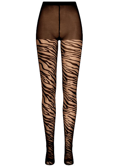 Seventyseven Lifestyle Damen Struktur Strumpfhose 40 Denier Zebra Print Gummibund schwarz