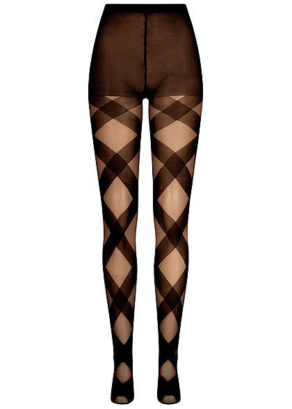 Seventyseven Lifestyle Damen Struktur Strumpfhose 40 Denier Streifen Muster schwarz