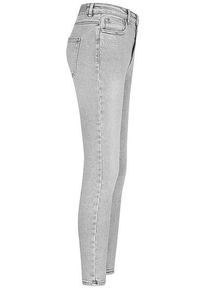 ONLY Damen NOOS Ankle Skinny Stretch Jeans Hose High-Waist 5-Pockets hell grau denim