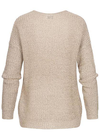 JDY by ONLY Damen NOOS Oversized V-Neck Sweater Strickpullover zement beige