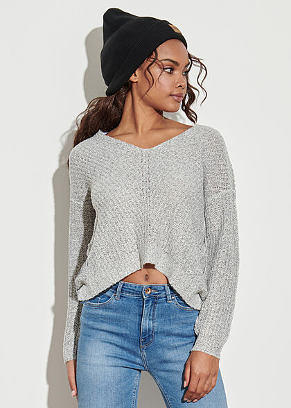 JDY by ONLY Damen NOOS Oversized V-Neck Sweater Strickpullover cloud hell grau
