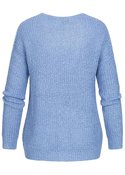 JDY by ONLY Damen NOOS Oversized V-Neck Sweater Strickpullover provence blau