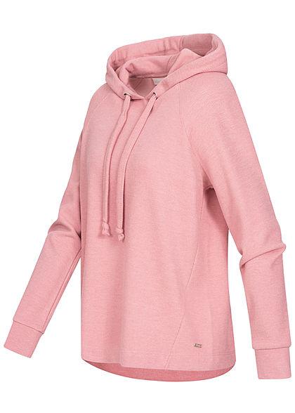 Tom Tailor Damen Ribbed Hoodie Kapuze Tunnelzug weiter Schnitt cozy rosa