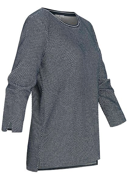 Tom Tailor Damen 3/4 Arm Struktur Shirt Pullover Punkte Muster navy blau weiss