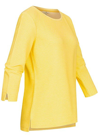 Tom Tailor Damen 3/4 Arm Struktur Shirt Pullover Punkte Muster gelb weiss