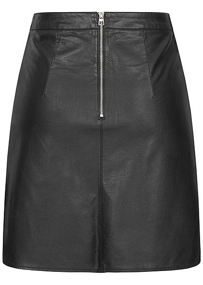 Tom Tailor Damen Kunstleder Mini Rock Zipper hinten optische Trennnähte schwarz