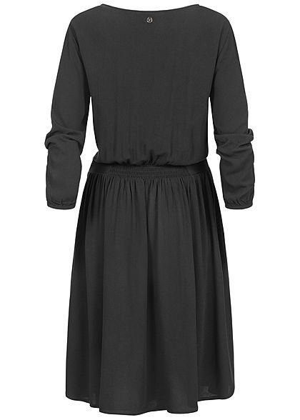 Tom Tailor Damen V-Neck Mini 3/4 Arm Krepp Kleid mit Spitzendetails tief schwarz