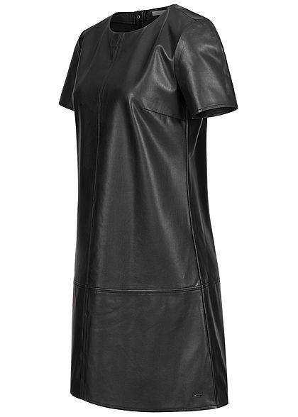 Tom Tailor Damen Kunstleder Kurzarm Mini Kleid Knopfleiste hinten Teilungsnähte schwarz
