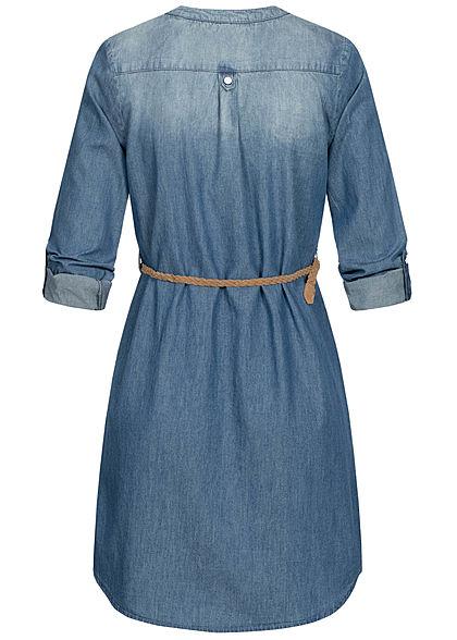 Hailys Damen Turn-up Jeans Kleid 2-Pockets inkl. Bindegürtel denim blau braun
