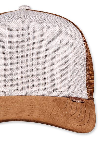 Djinns Herren Trucker Snapback Cap Mesh-Detail hinten 2-Tone Velouroptik sand beige braun