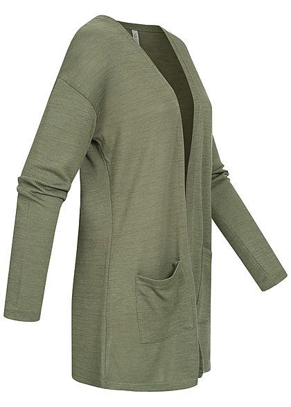 Hailys Damen Basic Cardigan 2-Pockets offener Schnitt khaki grün