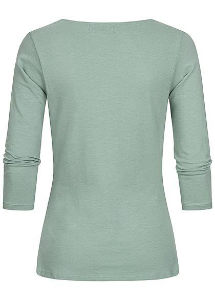 Hailys Damen 3/4 Arm V-Neck Longsleeve Pullover jade grün