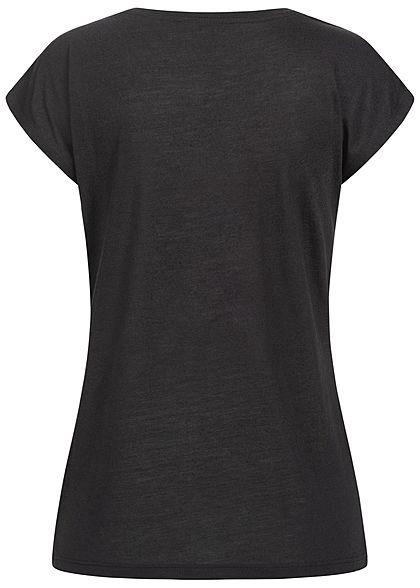 Hailys Damen T-Shirt Stern Paillettenfront schwarz kupfer