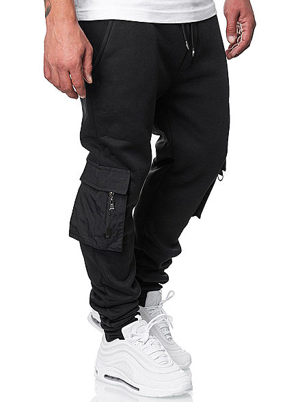 Brave Soul Herren Cargo Sweat Pants Jogginghose 4-Pockets Tunnelzug schwarz