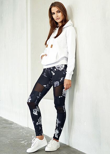 Urban Classics Damen Leggings Gummibund Mesh Blumen Print schwarz grau