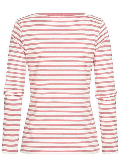 Tom Tailor Damen Langarmshirt mit Streifen Muster U-Boot Ausschnitt rosa weiss