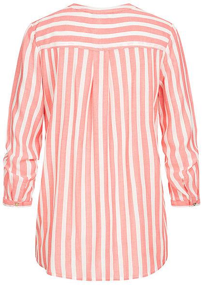 Tom Tailor Damen V-Neck Bluse Streifen Muster 2 Brusttaschen peach rosa weiss