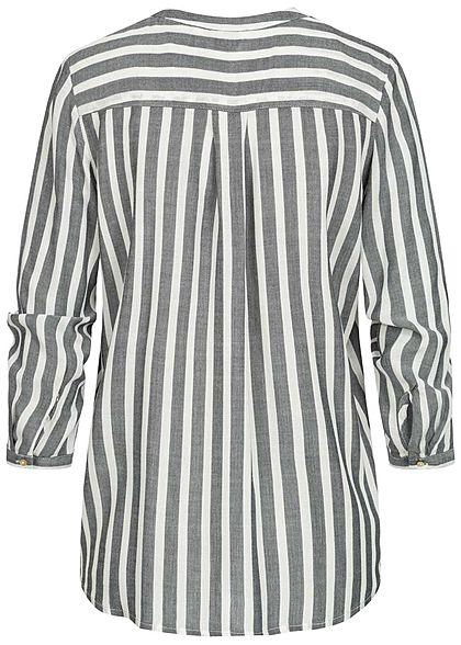 Tom Tailor Damen V-Neck Bluse Streifen Muster 2 Brusttaschen navy blau weiss