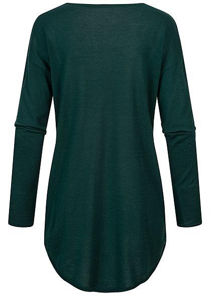 Tom Tailor Damen Longform Longsleeve Pullover Vokuhila dunkel grün