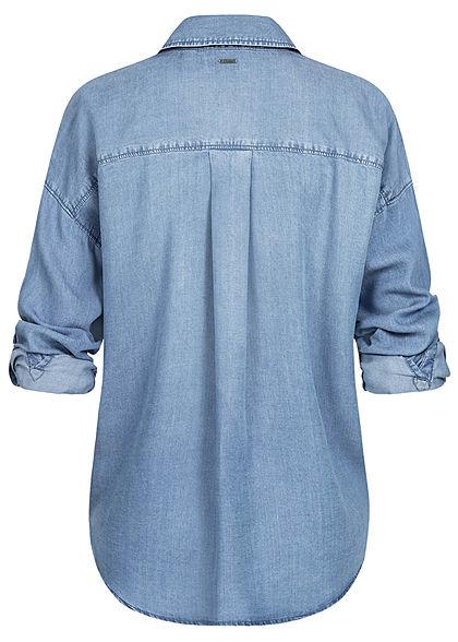 Tom Tailor Damen Turn-up Oversized Bluse 2 Brusttaschen Waist denim blau