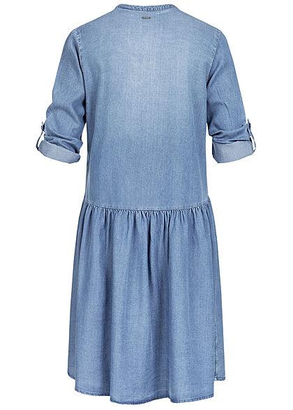 Tom Tailor Damen Turn-up Denim Tunika Kleid Knopfleiste denim blau