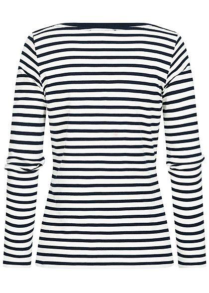 Tom Tailor Damen Langarmshirt mit Streifen Muster U-Boot Ausschnitt navy blau weiss