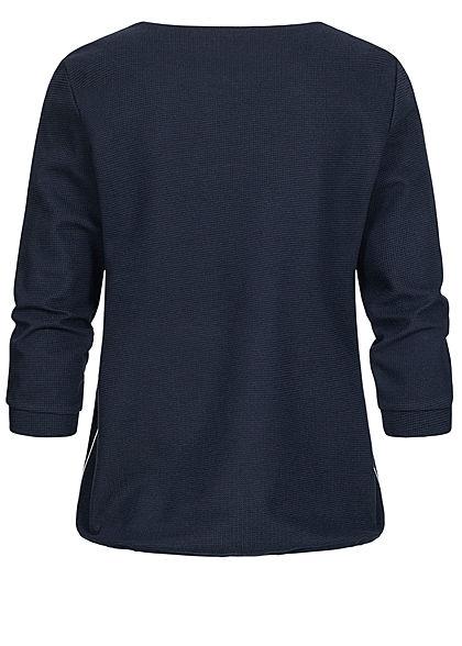 Tom Tailor Damen 7/8 Arm Struktur Shirt mit Tunnelzug Waffelstruktur sky capt. blau