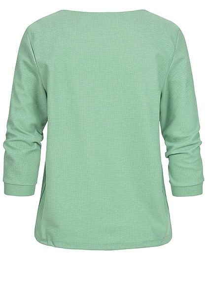 Tom Tailor Damen 7/8 Arm Struktur Shirt mit Tunnelzug Waffelstruktur soft leaf grün
