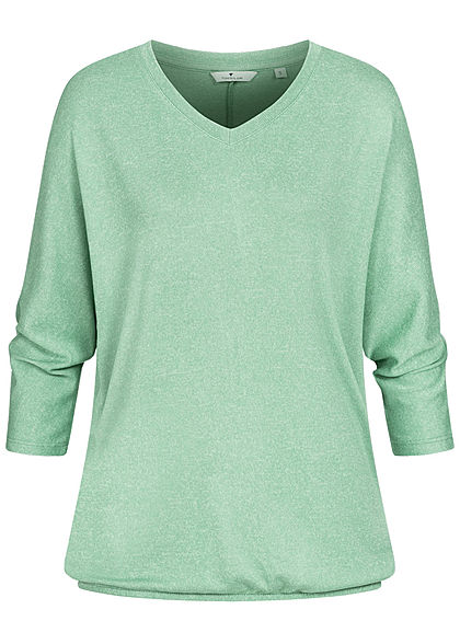 Tom Tailor Damen 3/4 Arm V-Neck Fledermausarm Shirt Pullover soft leaf grün mel.