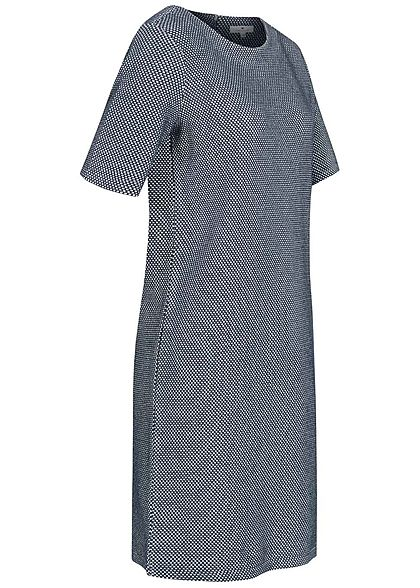 Tom Tailor Damen 1/2 Arm Struktur Mini Kleid Punkte Muster Zipper navy blau weiss