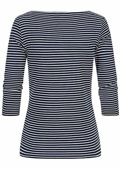 Tom Tailor Damen 7/8 Arm Longsleeve Pullover Streifen Muster navy blau weiss