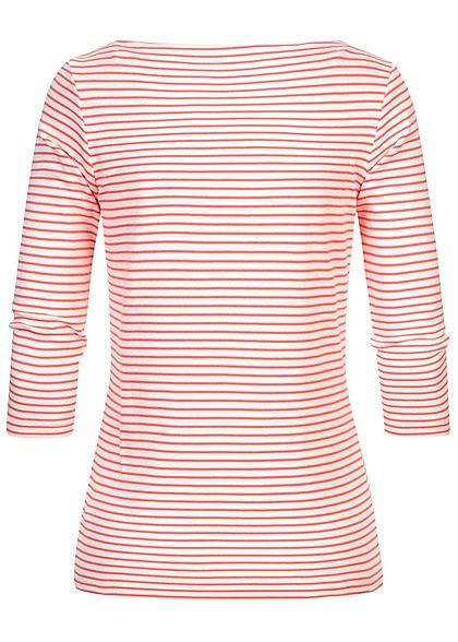 Tom Tailor Damen 7/8 Arm Longsleeve Pullover Streifen Muster weiss peach rosa