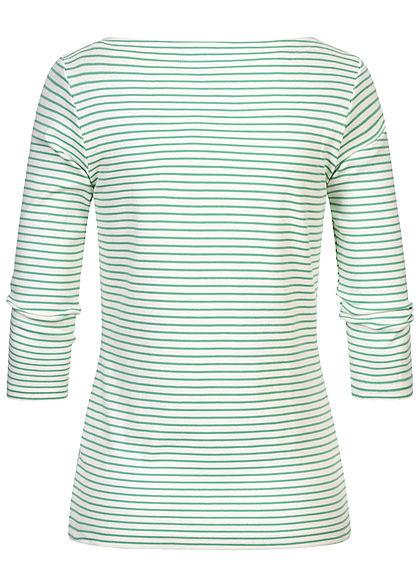 Tom Tailor Damen 7/8 Arm Longsleeve Pullover Streifen Muster weiss soft grün