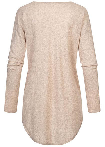 Tom Tailor Damen Longform Longsleeve Pullover Vokuhila cozy beige melange