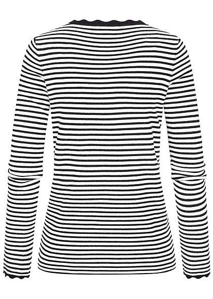 Tom Tailor Damen Ribbed Sweater Pullover Streifen Muster schwarz weiss