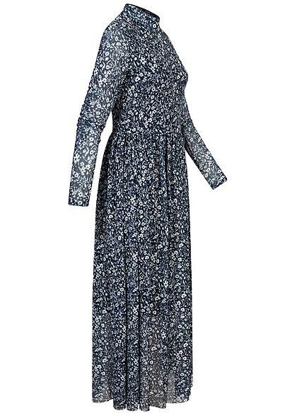 Tom Tailor Damen Langarm Midi Mesh Kleid Blumen Muster 2-lagig blau weiss
