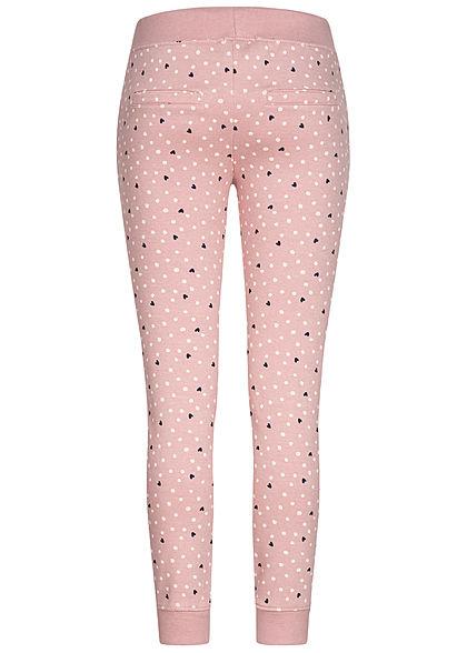 Eight2Nine Damen Sweatpants Stoffhose 4-Pockets Punkte & Herzen Rippbündchen rosa