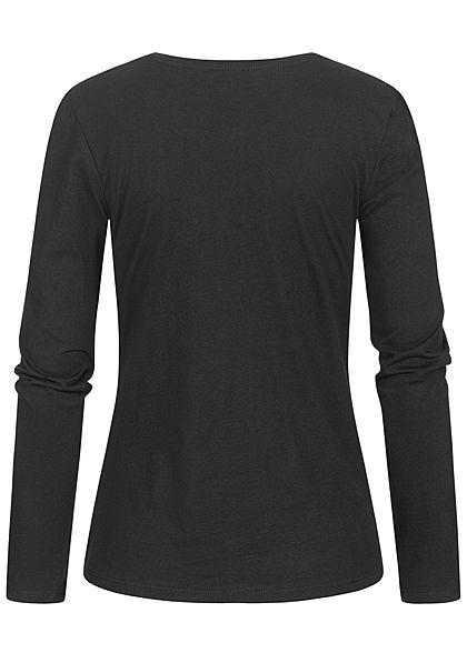 Eight2Nine Damen Longsleeve Pullover FOREVER Print schwarz