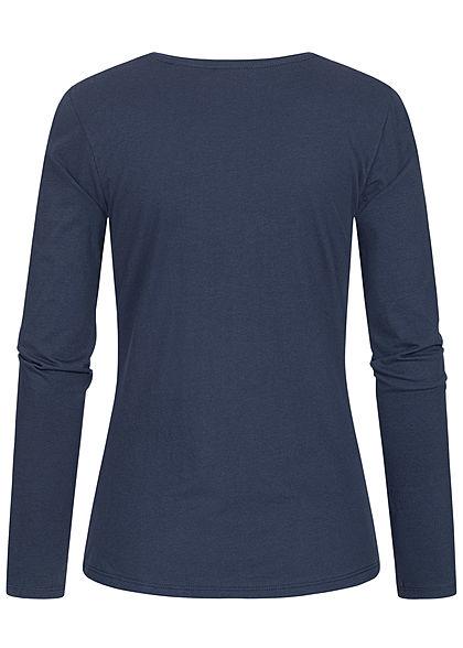 Eight2Nine Damen Longsleeve Pullover FOREVER Print stormy blau